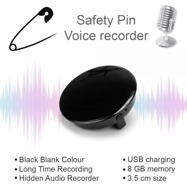 Safety Pin Voice Recorder Professional HD Noise Reduction HiFi MP3 Player Digital Audio Recorder 68H Long