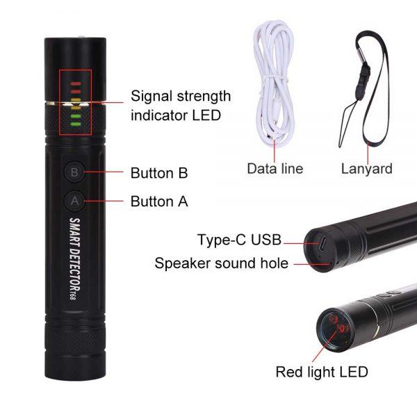 Anti spy Mini Pen Detector Multi function RF Lens Magnet Camera GSM Audio Bug Finder GPS 1