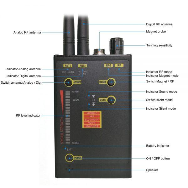 Professional Spy Hidden Camera Detector Audio Bug Detector Anti Candid Anti Eavesdropping Magnet GPS Tracker 4
