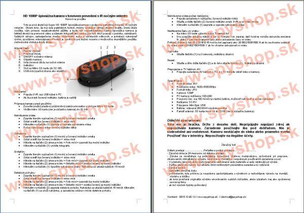 Navod na pouzitie HD 1080P pionna kamera v kovovom preveden s IR nonm videnm
